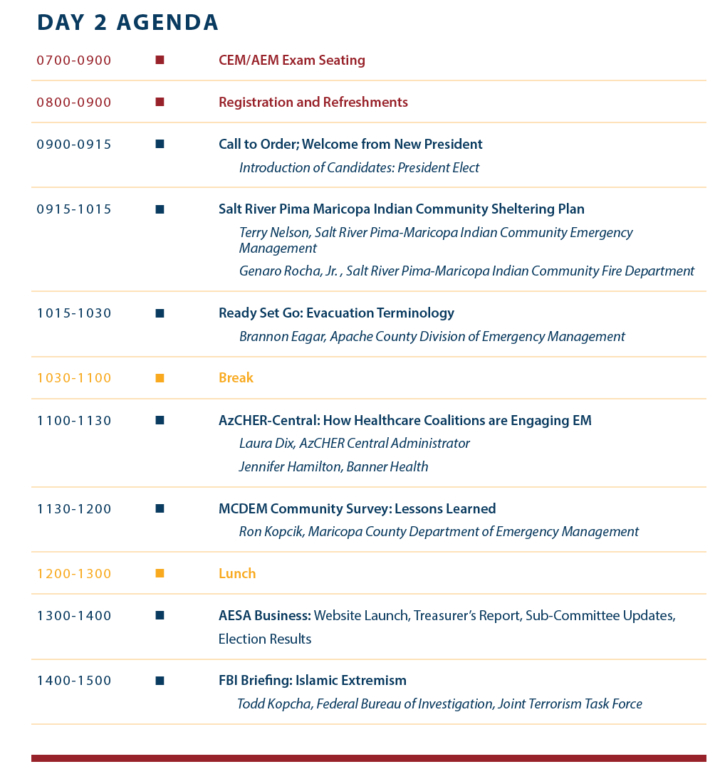 Arizona Emergency Services Association - 2017 AESA Conference Agenda